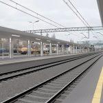 Wizualizacja przedstawia dwa zdjęcia, które przesuwa się przy pomocy suwaka. Jedno zdjęcie pokazuje stację Choszczno przed modernizacją, a drugie zdjęcie to wizualizacja jak docelowo stacja będzie wyglądała po modernizacji.