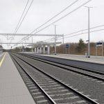 Wizualizacja przedstawia dwa zdjęcia, które przesuwa się przy pomocy suwaka. Jedno zdjęcie pokazuje stację Dolice przed modernizacją, a drugie zdjęcie to wizualizacja jak docelowo stacja będzie wyglądała po modernizacji.