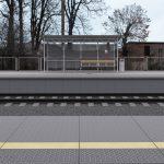 Wizualizacja przedstawia dwa zdjęcie, które przesuwa się przy pomocy suwaka. Jedno zdjęcie pokazuje przystanek Pęckowo przed modernizacją, a drugie zdjęcie to wizualizacja jak docelowo przystanek będzie wyglądał po modernizacji.