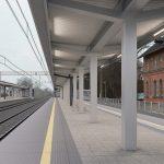 Wizualizacja przedstawia dwa zdjęcia, które przesuwa się przy pomocy suwaka. Jedno zdjęcie pokazuje stację Wronki przed modernizacją, a drugie zdjęcie to wizualizacja jak docelowo stacja będzie wyglądała po modernizacji.