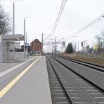 Wizualizacja przedstawia dwa zdjęcia, które przesuwa się przy pomocy suwaka. Jedno zdjęcie pokazuje stację Kolin przed modernizacją, a drugie zdjęcie to wizualizacja jak docelowo stacja będzie wyglądała po modernizacji.