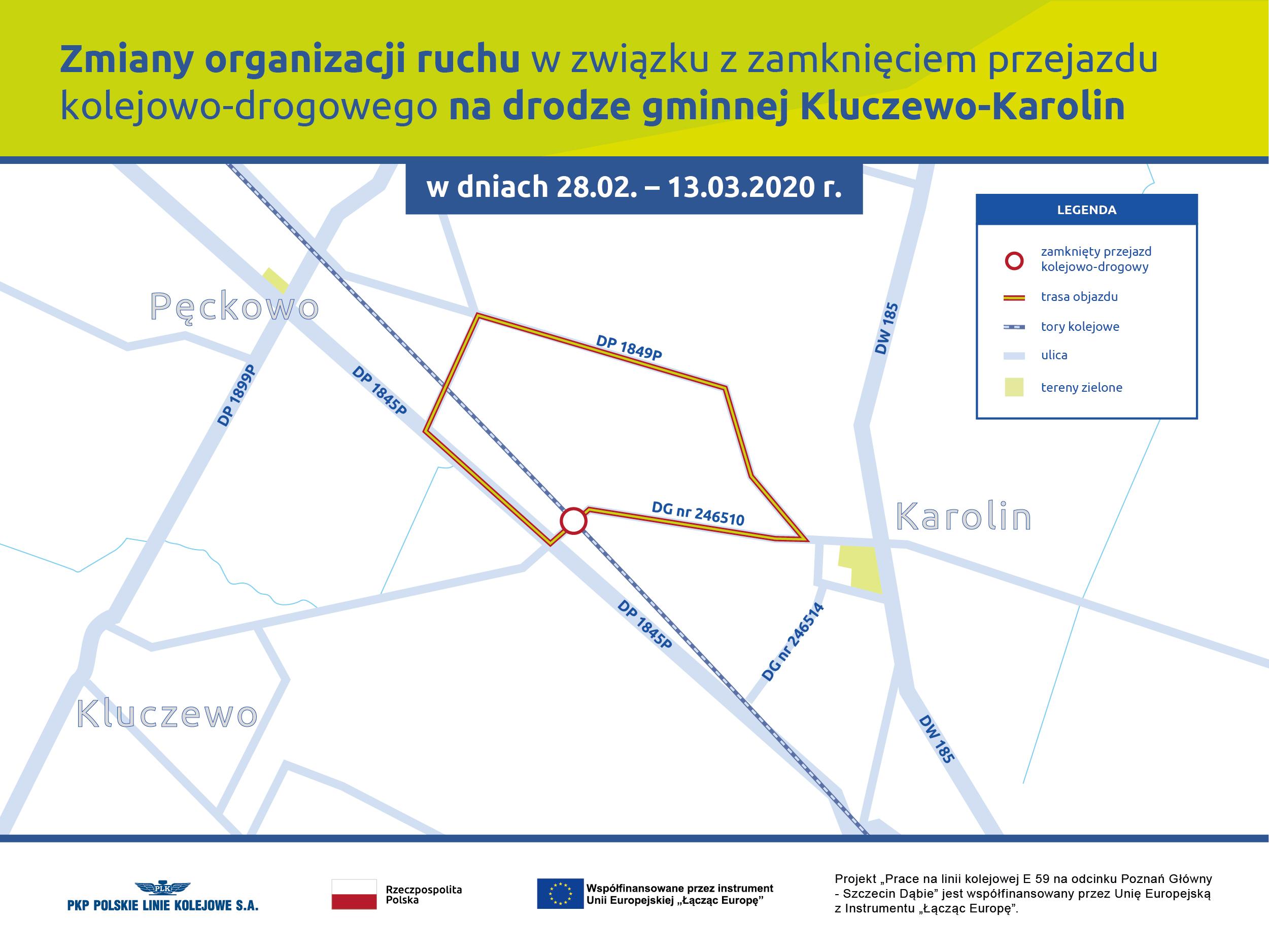 Infografika przedstawiająca mapę ze zmianą organizacji ruchu w związku z zamknięciem przejazdu kolejowo-drogowego na drodze gminnej Kluczewo-Karolin