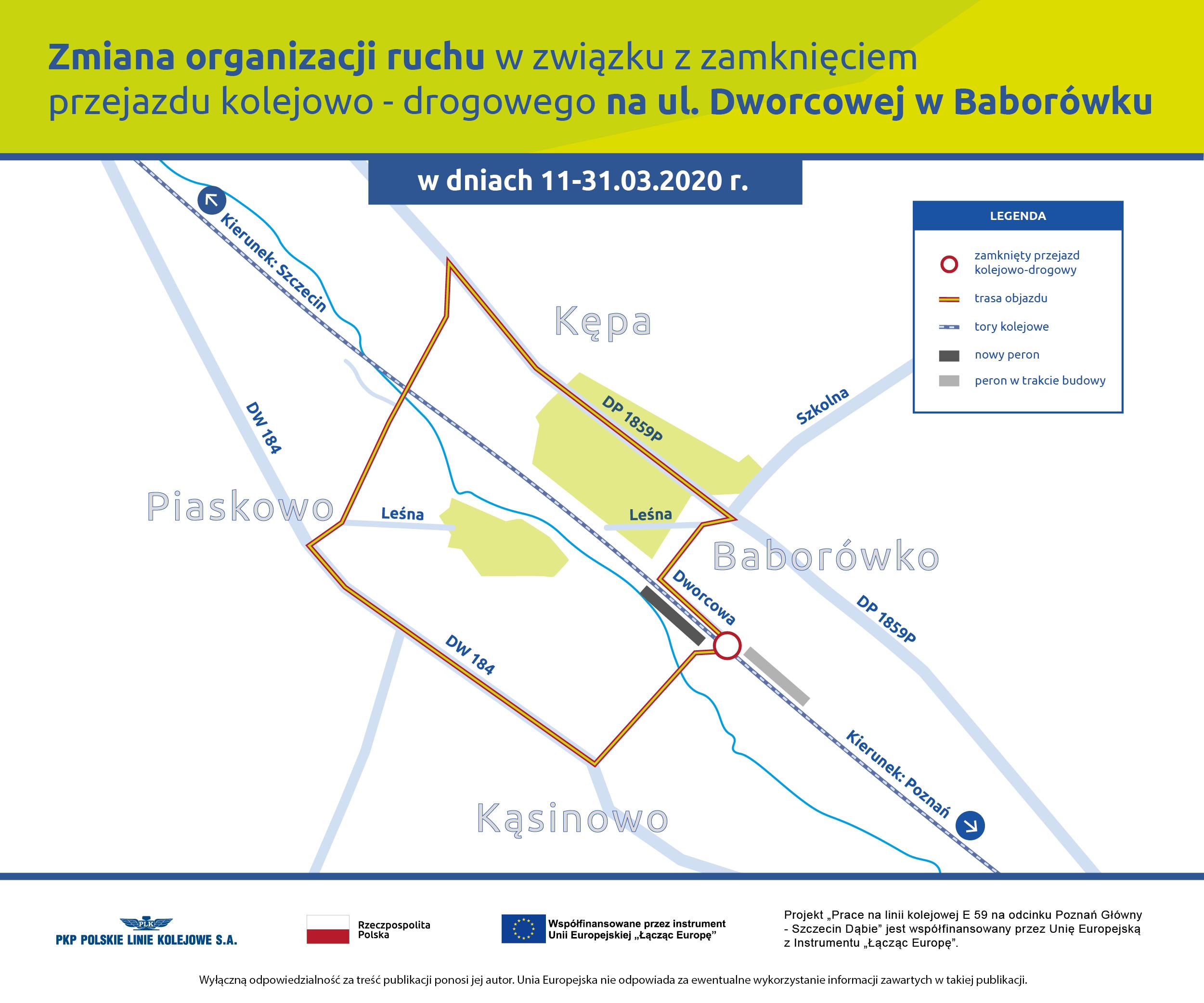 Infografika przedstawiająca mapę ze zmianą organizacji ruchu w związku z zamknięciem przejazdu kolejowo-drogowego na ul. Dworcowej