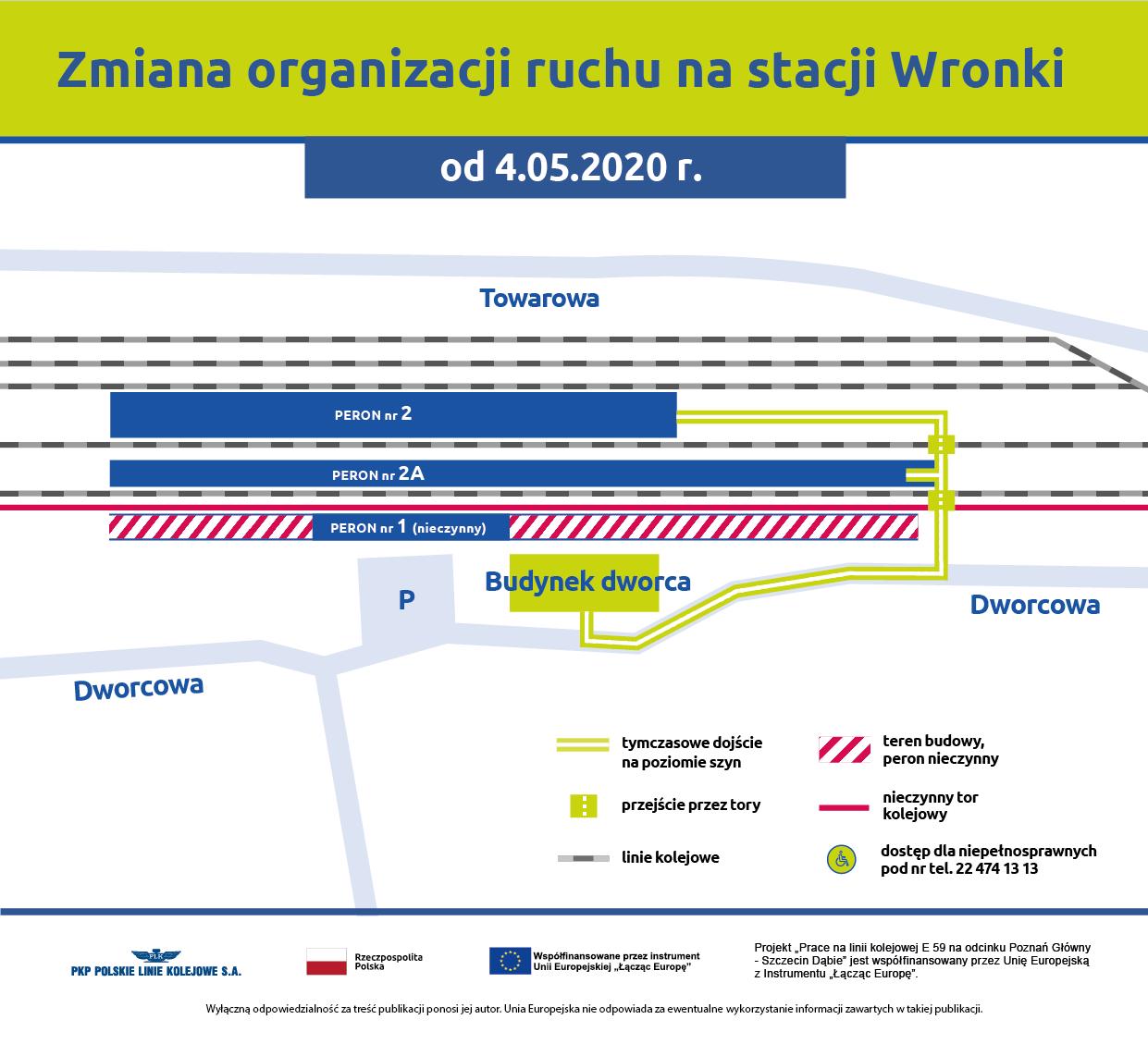 Infografika przedstawia plan nowej organizacji ruchu na stacji Wronki. Schemat pokazuje jak pasażerowie mogą dostać się na peron nr 2 i peronu nr 2a.