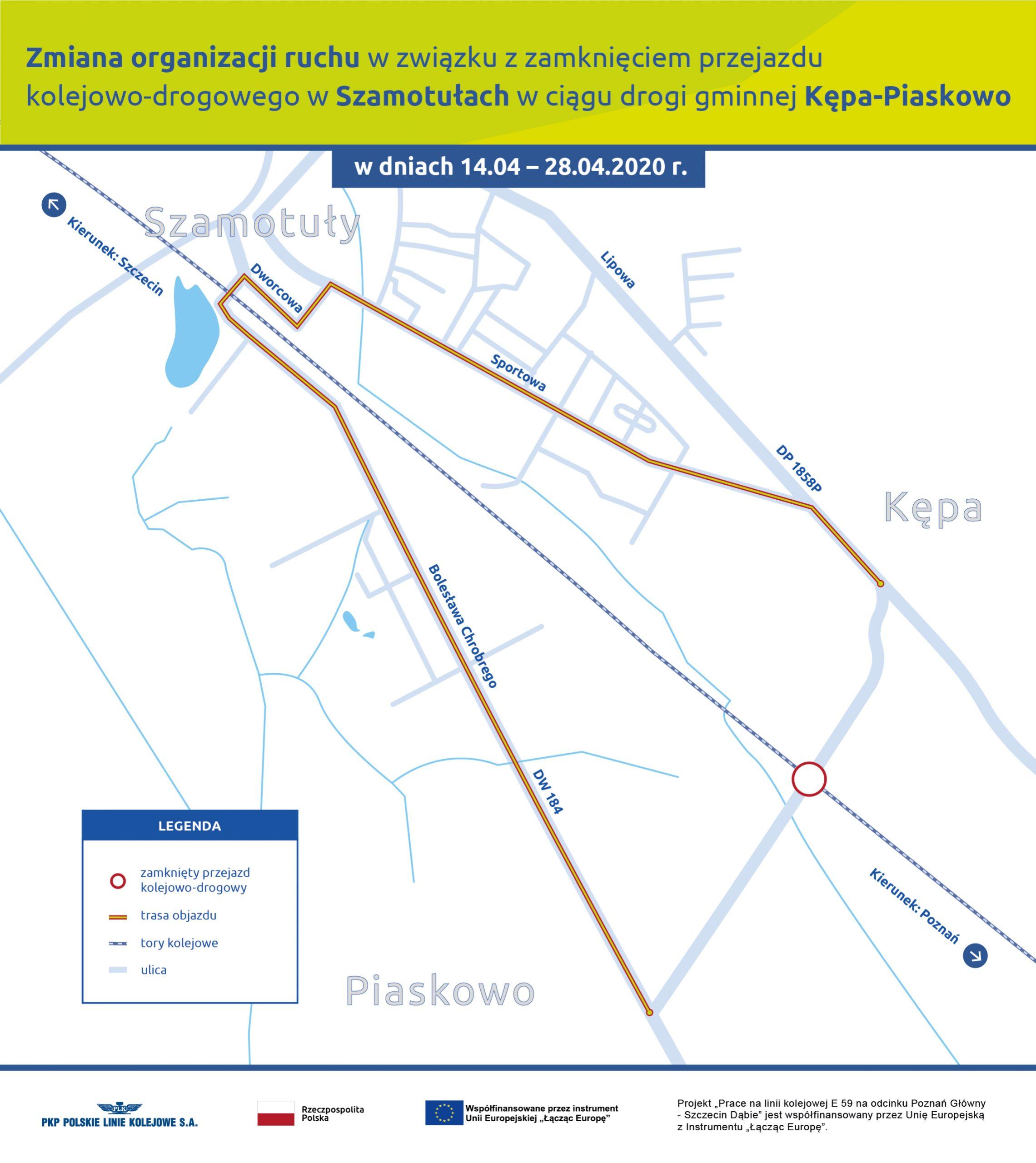 Zmiana organizacji ruchu wzwiązku zzamknięciem przejazdu kolejowo-drogowego  wSzamotułach wciągu drogi gminnej Kępa-Piaskowo wdniach 14.04 – 27.04.2020 r.