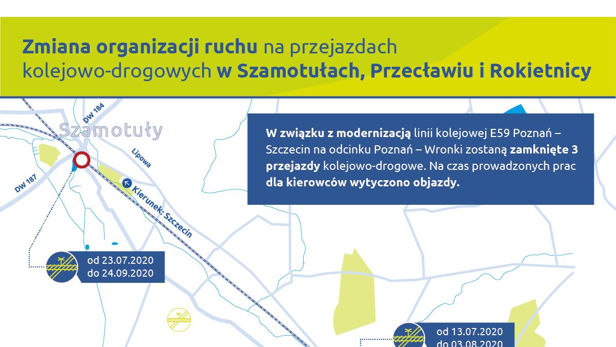 Infografika przedstawia zmianę organizacji ruchu dla samochodów w związku z zamknięciami trzech przejazdów kolejowo-drogowych w Szamotułach, Przecławiu i Rokietnicy. Na grafice widoczna jest mapa, która pokazuje objazdy wytyczone dla kierowców.