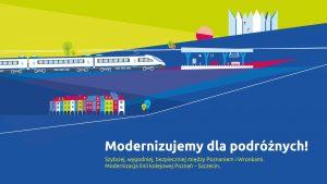 Videoinfografika opisuje zakres modernizowanych prac na odcinku Poznań-Wronki, które działy się w maju 2020 roku.