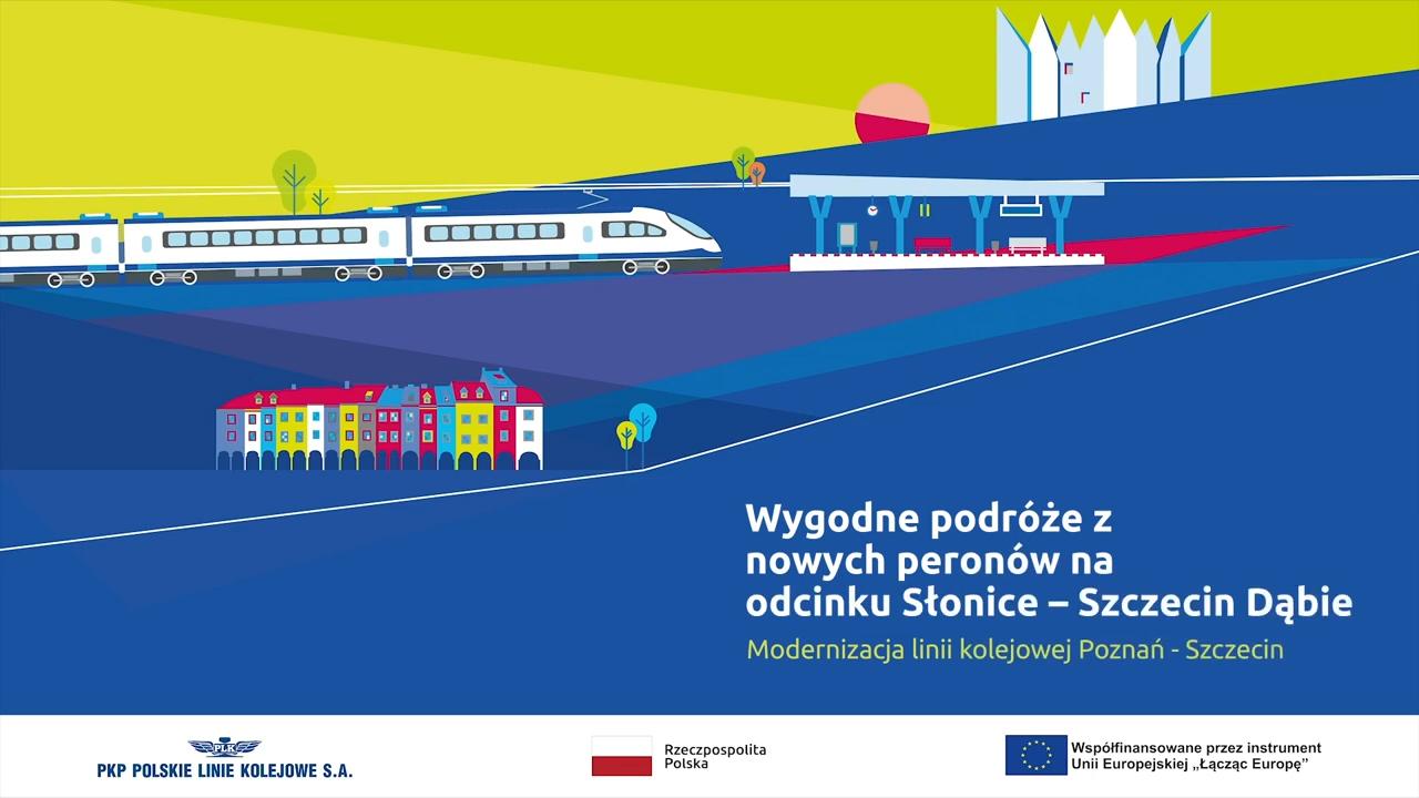 Zdjęcie przedstawia graficzną planszę na początku filmu, na której widać jadący pociąg w stronę stacji oraz kolorowe kamienice wraz z tytułem. Film pokazuje aktualne prace dziejące się w październiku 2020 roku na odcinku Szczecin-Słonice.