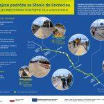Infografika przedstawia najnowsze zdjęcia gotowych peronów w Szczecinie, Reptowie, Choszcznie, Kolinie oraz Morzycy, jak również korzyści, które wynikają z modernizacji odcinka Szczecin-Słonice.