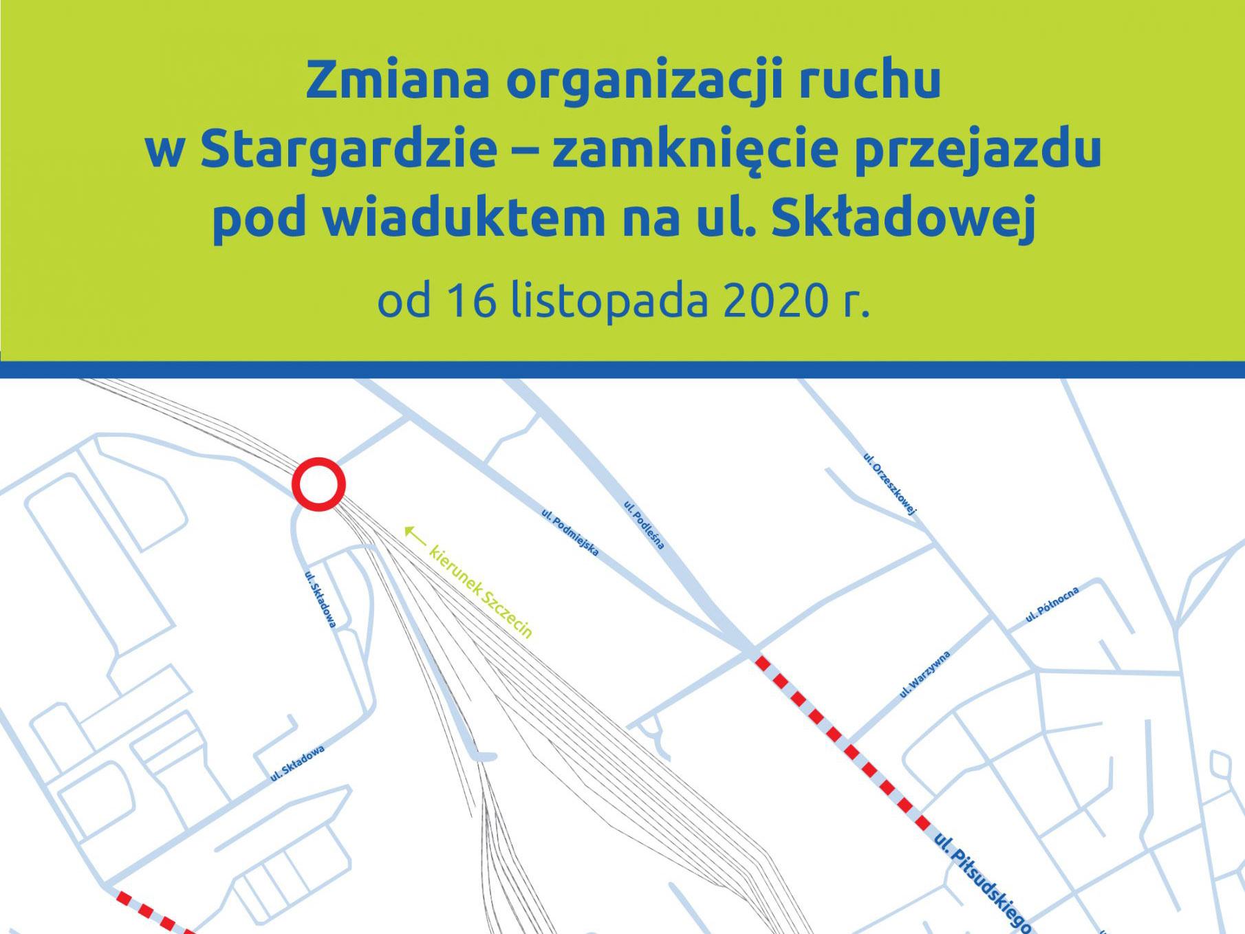 Infografika przedstawia schemat zmiany organizacji ruchu w Stargardzie pod wiaduktem na ul. Składowej