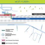 Infografika przedstawia zmianę organizacji ruchu na stacji Szamotuły z powodu zamknięcia peronu nr 1 oraz oddania do użytku peronu nr 2 od 27 listopada 2020 roku.