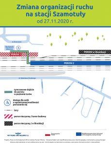 Infografika przedstawia zmianę organizacji ruchu nastacji Szamotuły.