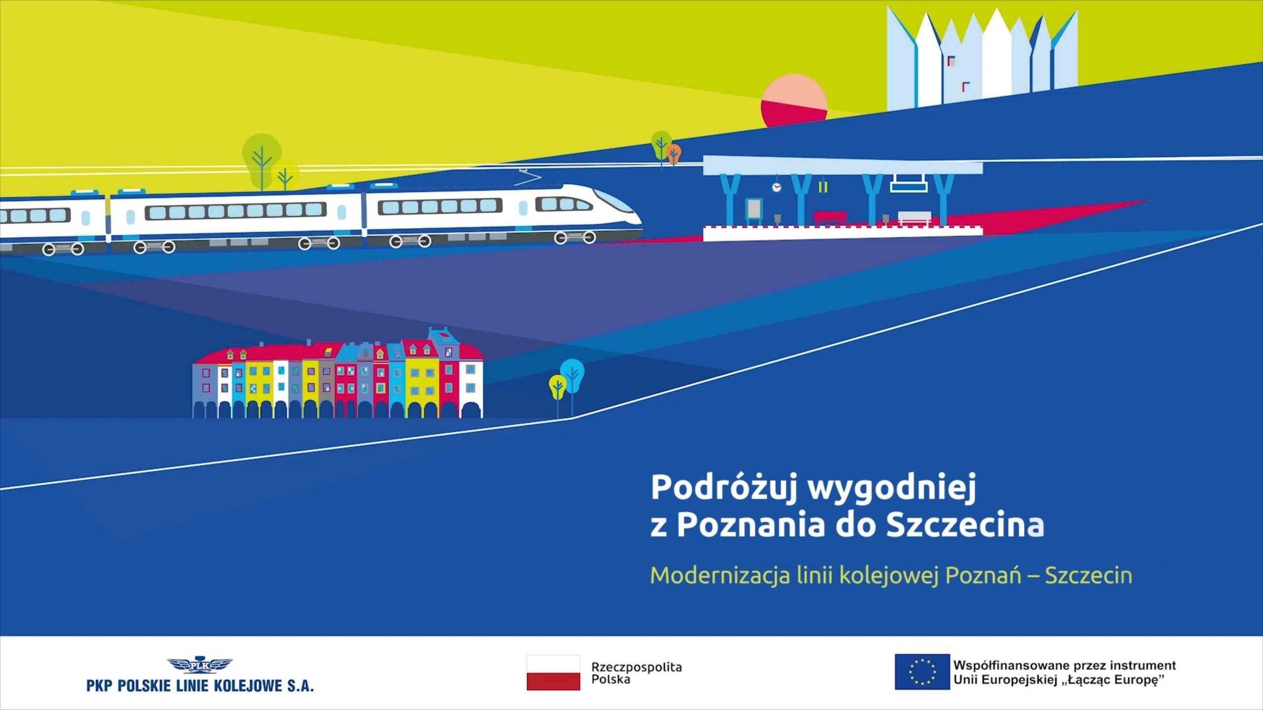 Zdjęcie przedstawia planszę początkową filmu, na której znajdują się kolorowe kamienice oraz pociąg dojeżdżający do stacji. Film opowiada o zakresie modernizacji odcinka Poznań-Wronki jesienią 2020 roku.