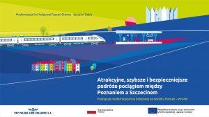 Materiał filmowy dotyczy postępujących prac na obiektach, stacjach oraz przystankach odcinka Poznań-Wronki.