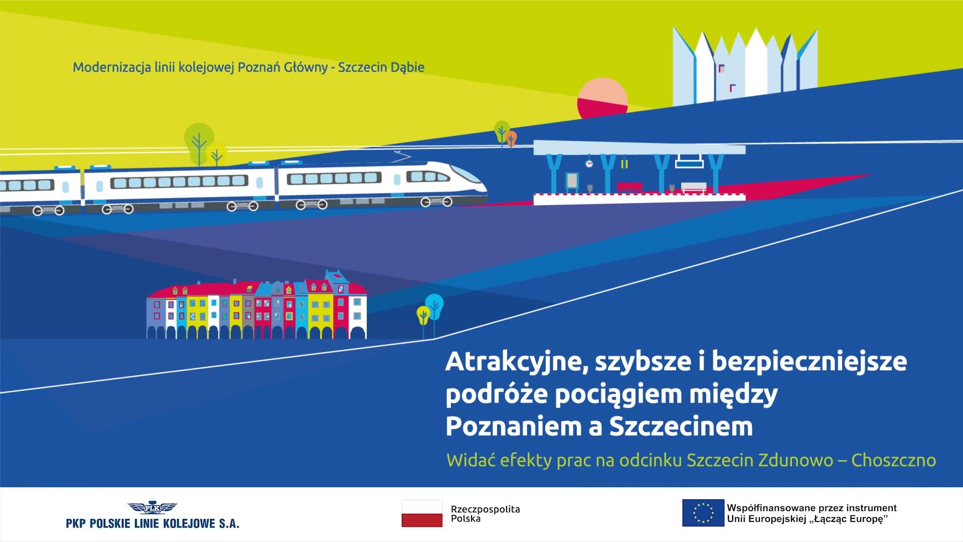 Materiał filmowy dotyczy postępujących prac na obiektach, stacjach oraz przystankach odcinka Szczecin Zdunowo - Choszczno.